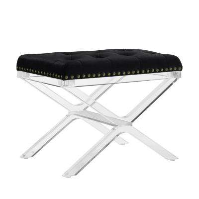 Alicia x -Base Black Vanity Bench with Acrylic Legs