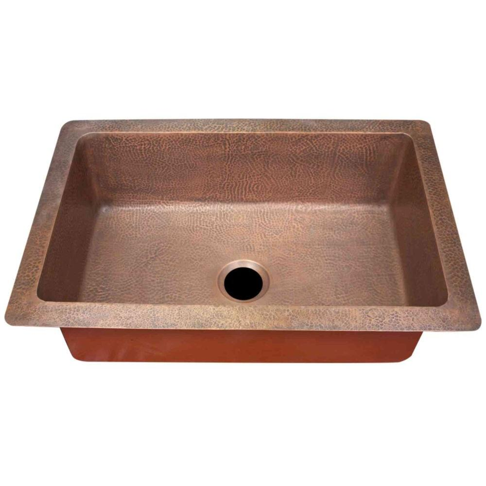 Imperial Undermount Copper 33x22x10 0-Hole Single Basin Kitchen Sink