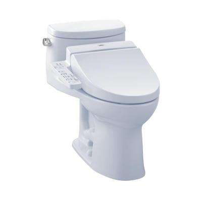 Supreme II Connect+ 1-Piece 1.28 GPF Elongated Toilet with Washlet C100 Bidet Seat and CeFiOntect in Cotton White