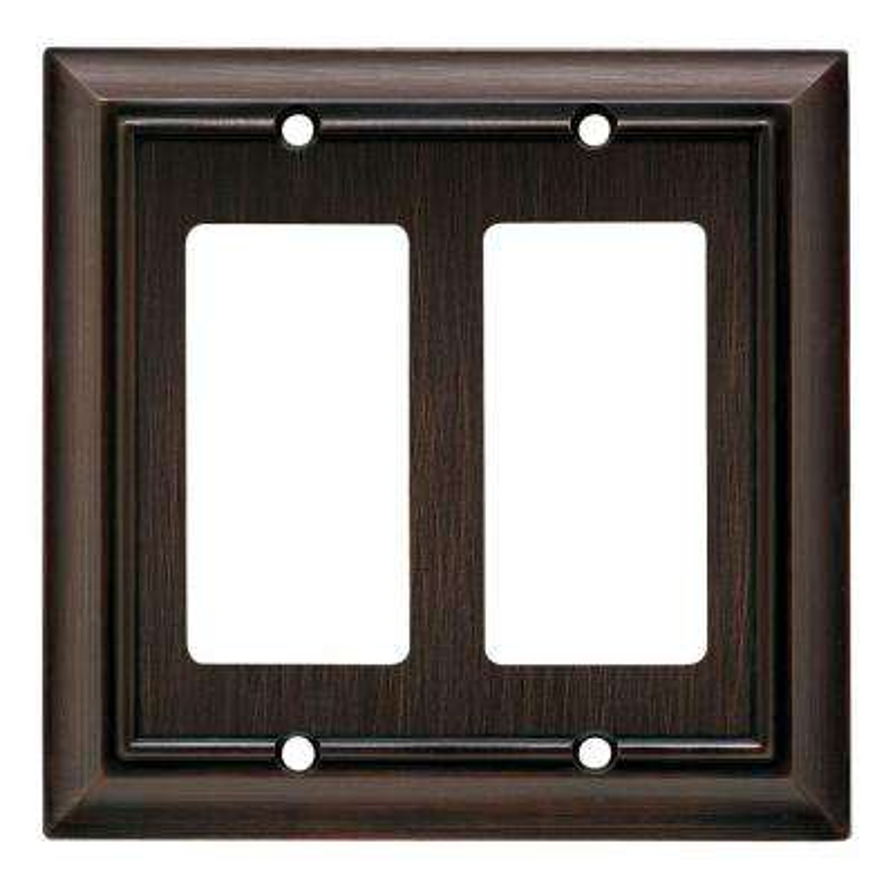 Architectural Decorative Double Rocker Switch Plate, Venetian Bronze