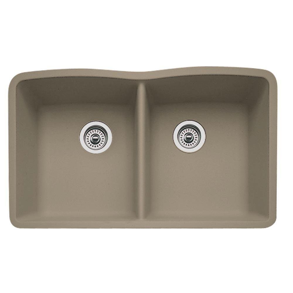 Blanco Diamond Undermount Granite 32 In 0 Hole Double Bowl Kitchen Sink Truffle