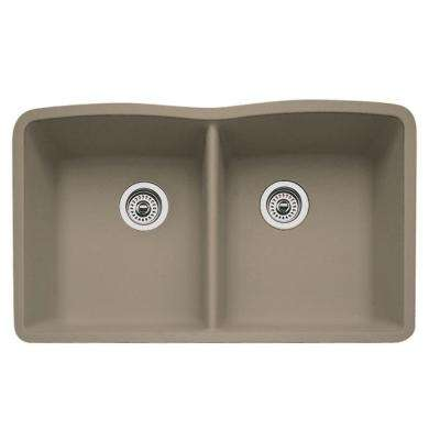 Diamond Undermount Granite 32 in. 0-Hole Double Bowl Kitchen Sink in Truffle