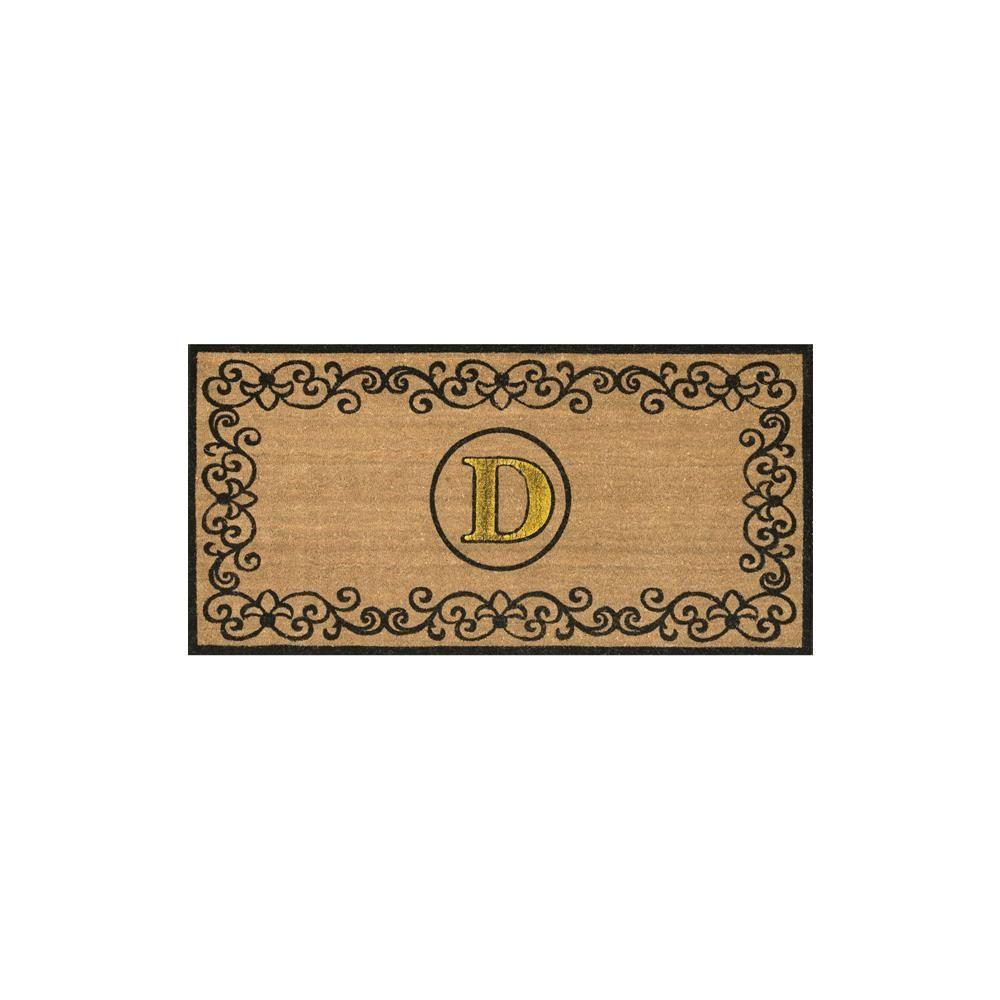 nuLOOM Brown 3 ft. x 6 ft. Indoor/Outdoor Monogrammed Letter D Area ...