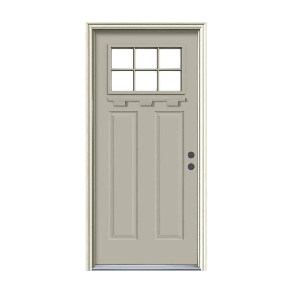 36 in. x 80 in. 6 Lite Craftsman Desert Sand Painted Steel Prehung Left-Hand Inswing Front Door w/Brickmould and Shelf