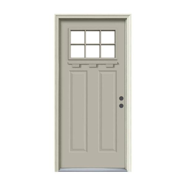 36 in. x 80 in. 6 Lite Craftsman Desert Sand Painted Steel Prehung Left-Hand Inswing Front Door w/Brickmould and Shelf