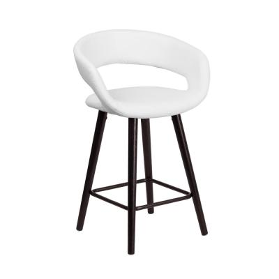 23.75 in. Cappuccino and White Cushioned Bar Stool