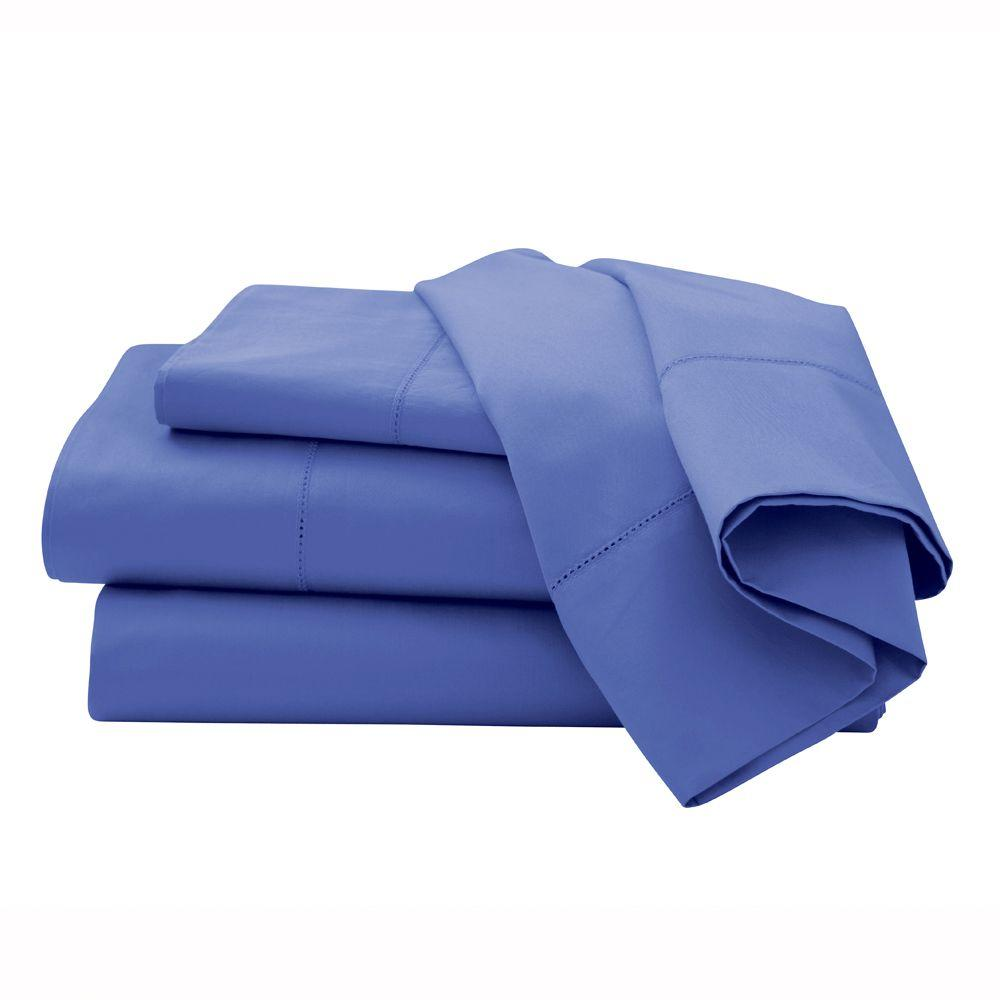 Home Decorators Collection Hemstitched Lapis Lazuli Queen Sheet Set