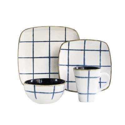 Squares 16-Piece Blue Dinnerware Set