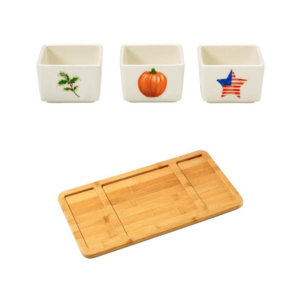 Precious Moments Bamboo Cheese Board and Porcelain Holiday Appetizer Dip Bowls (Set of 3), Multi Mix and match these handy and stylish porcelain appetizer and dip bowls for an attractive fall winter or summer holiday table. Just perfect for dips, olives, condiments and more. Your favorite hostess will remember your thoughtfulness each time she serves her favorite dips and condiments with these unique serving bowls. Color: Multi.
