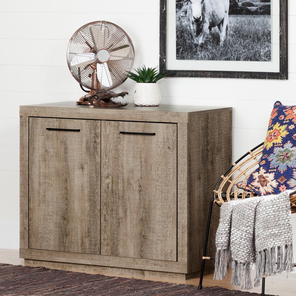 South shore kanji weathered oak storage cabinet