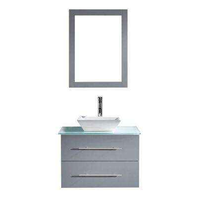 Marsala 30 in. W Bath Vanity in Gray with Glass Vanity Top in Aqua with Square Basin and Mirror and Faucet