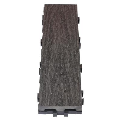 UltraShield Naturale 3 in. x 1 ft. Quick Composite Single Slat Deck Tile in Hawaiian Charcoal (4-Pieces per Box)