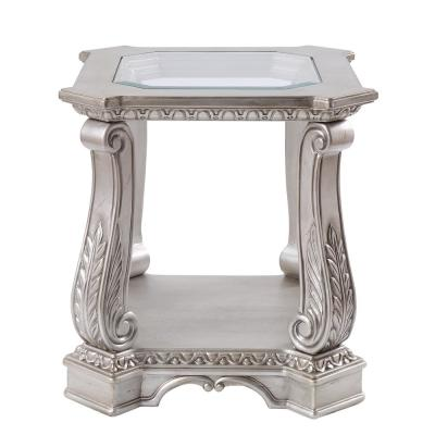 Northville Antique Champagne and Clear Glass End Table