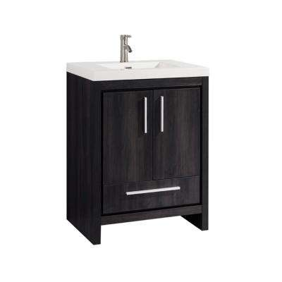Maiden 24 in. W x 20 in. D x 36 in. H Bath Vanity in Black-Walnut with Acrylic Vanity Top in White with White Basin
