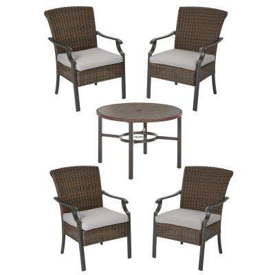 Harper Creek 5-Piece Brown Steel Outdoor Patio Dining Set with CushionGuard Stone Gray Cushions