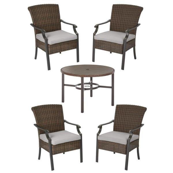 Harper Creek Brown 5-Piece Steel Outdoor Patio Dining Set with CushionGuard Stone Gray Cushions