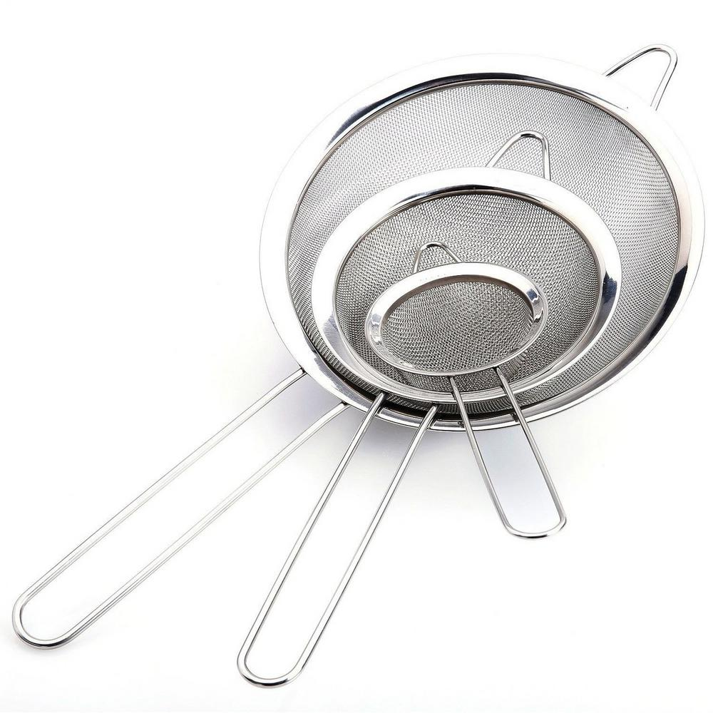 3 Piece Stainless Steel Mesh Strainer Set
