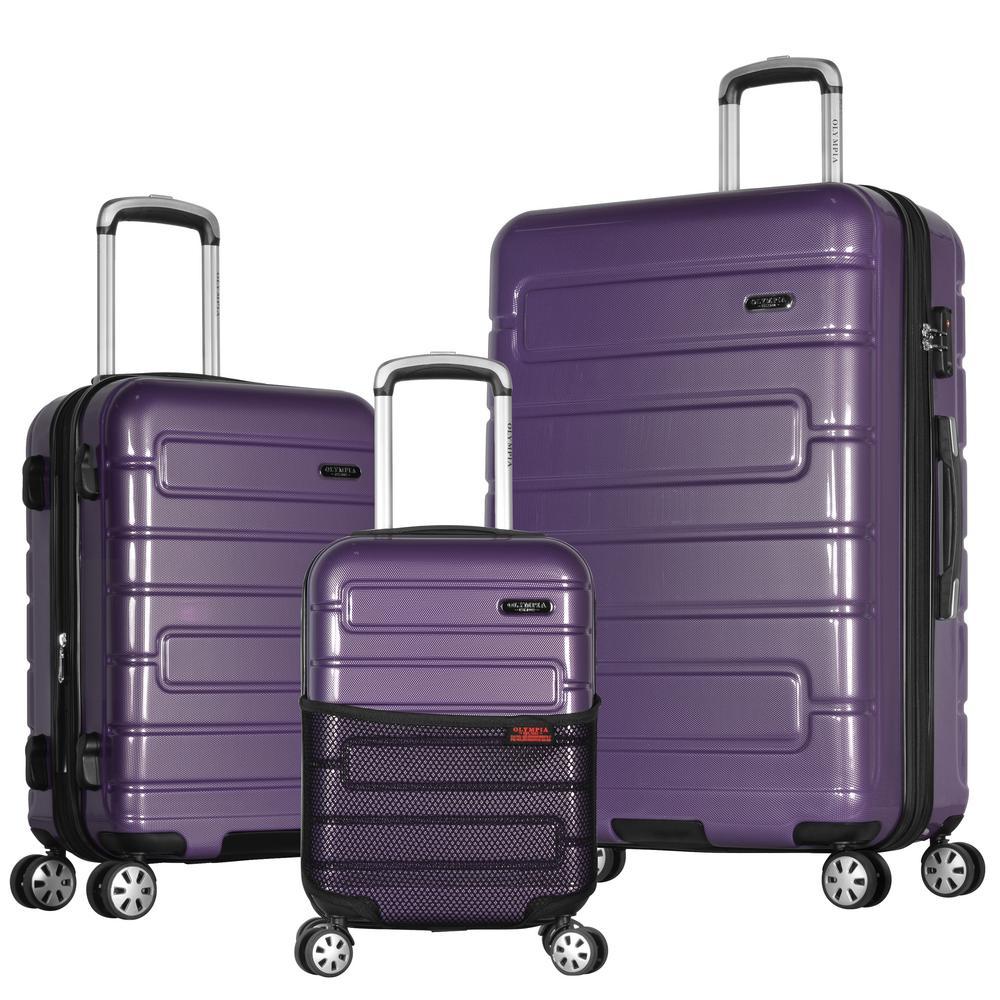 Nema 3-Piece Purple PC Exp. Hardcase Spinner Set with TSA Lock