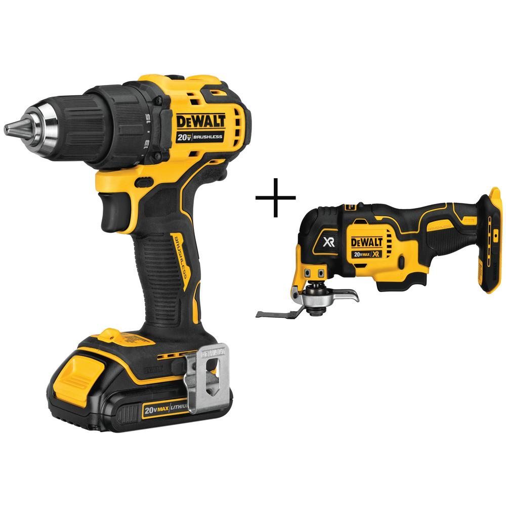 DEWALT ATOMIC 1/2 in. 20-Volt MAX Lithium-Ion Brushless Cordless Compact Drill Driver with Bonus Oscillating Multi-Tool