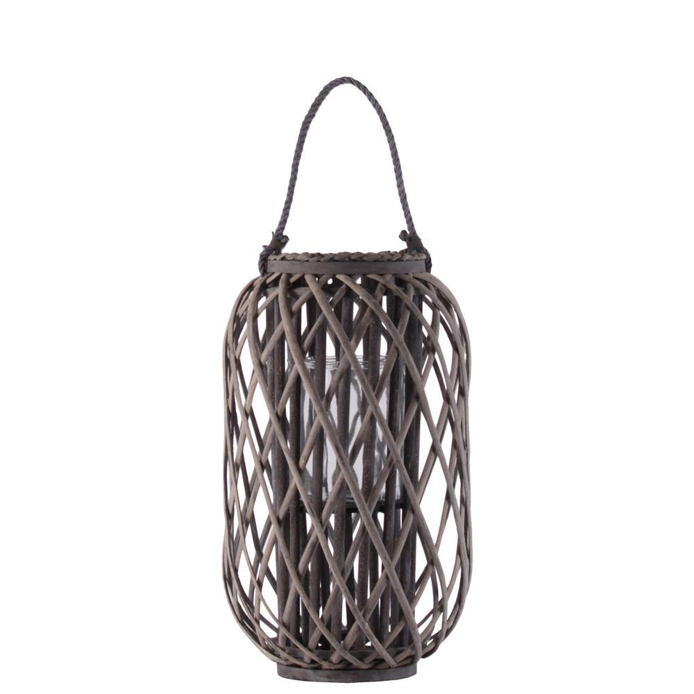 Taupe Candle Bamboo Decorative Lantern