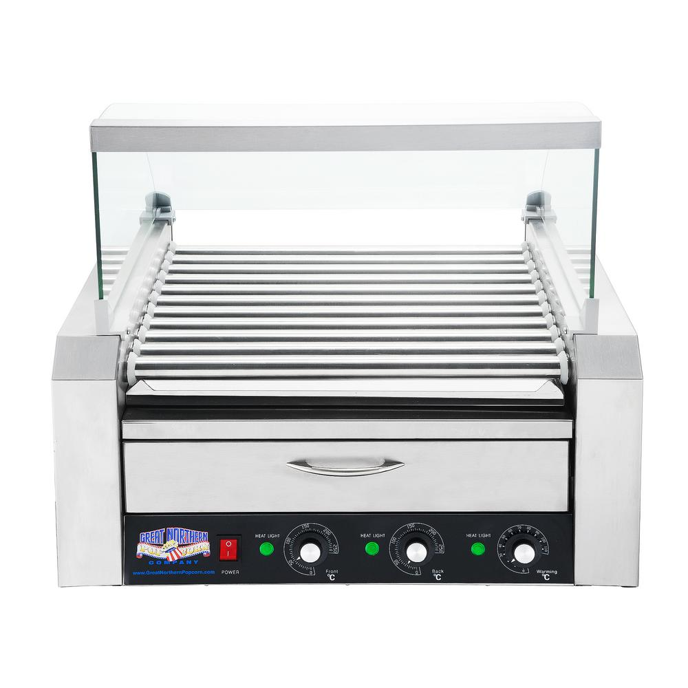 Commercial 30-Hot Dog 11-Roller Grilling Machine with Cover
