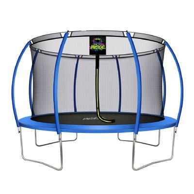 12 ft. Blue Pumpkin-Shaped Outdoor Trampoline Set with Premium Top-Ring Frame Safety Enclosure
