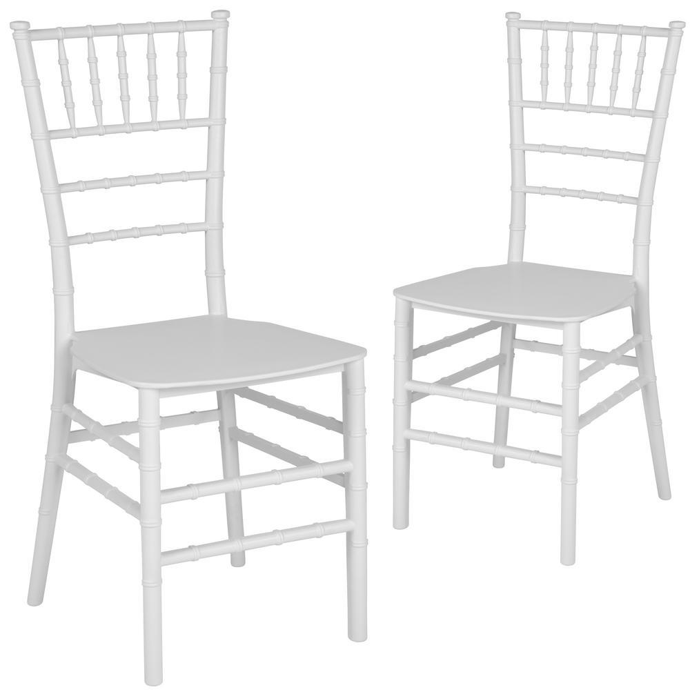 White Flat Seat Resin Chiavari Chairs (Set of 2)