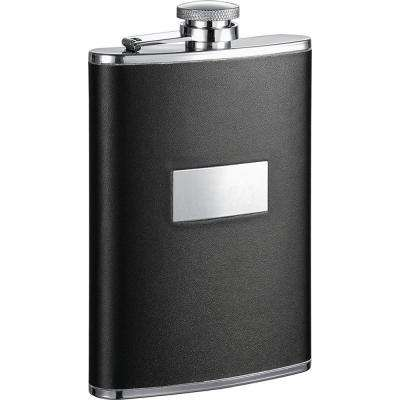 Ontario Black Leather Stainless Steel Hip Flask