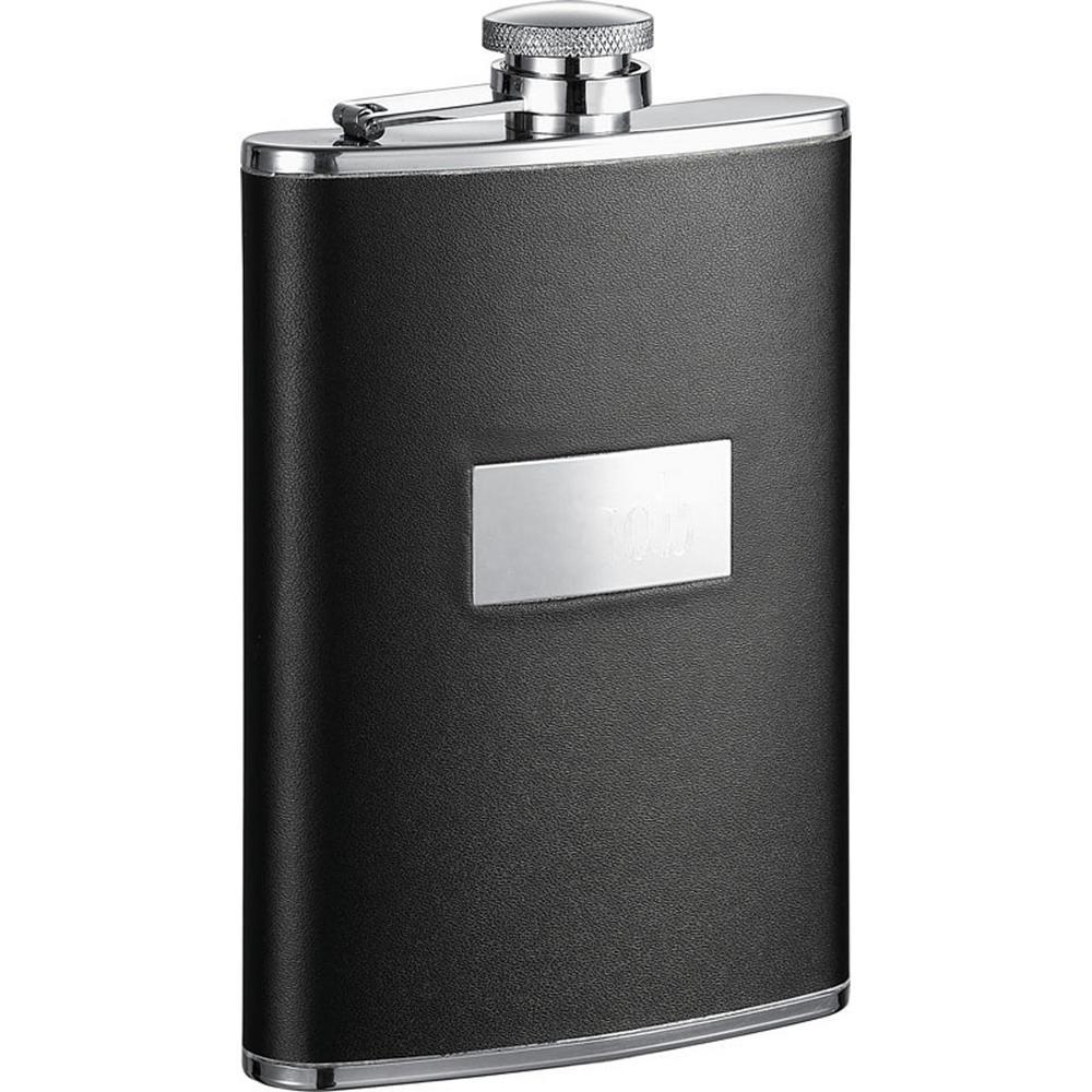 Visol Ontario Black Leather Stainless Steel Hip Flask VF1272