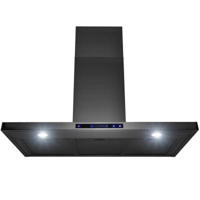 36 in. 350 CFM Convertible Wall Mount Kitchen Range Hood with LED Lights in Brushed Black Stainless Steel