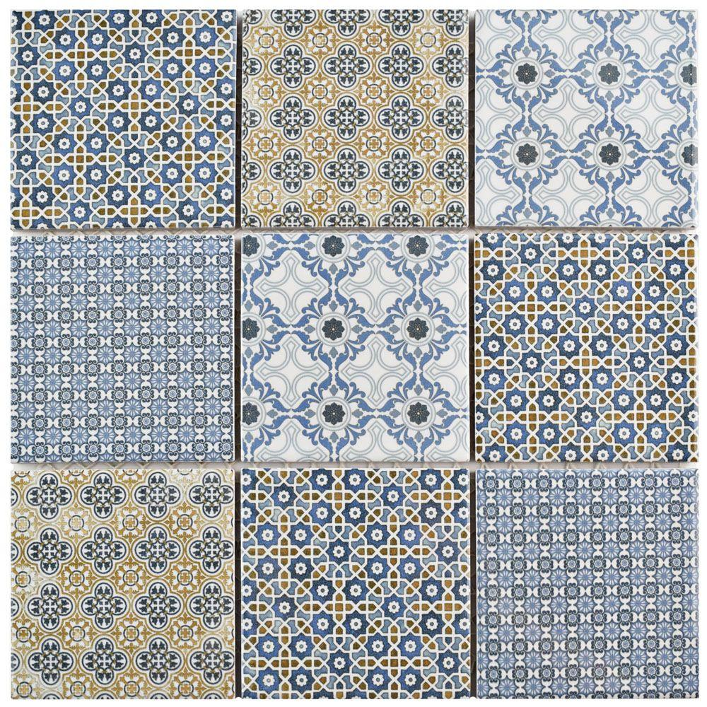 Merola Tile Classico 11-5/8 in. x 11-5/8 in. x 6 mm Porcelain Mosaic ...