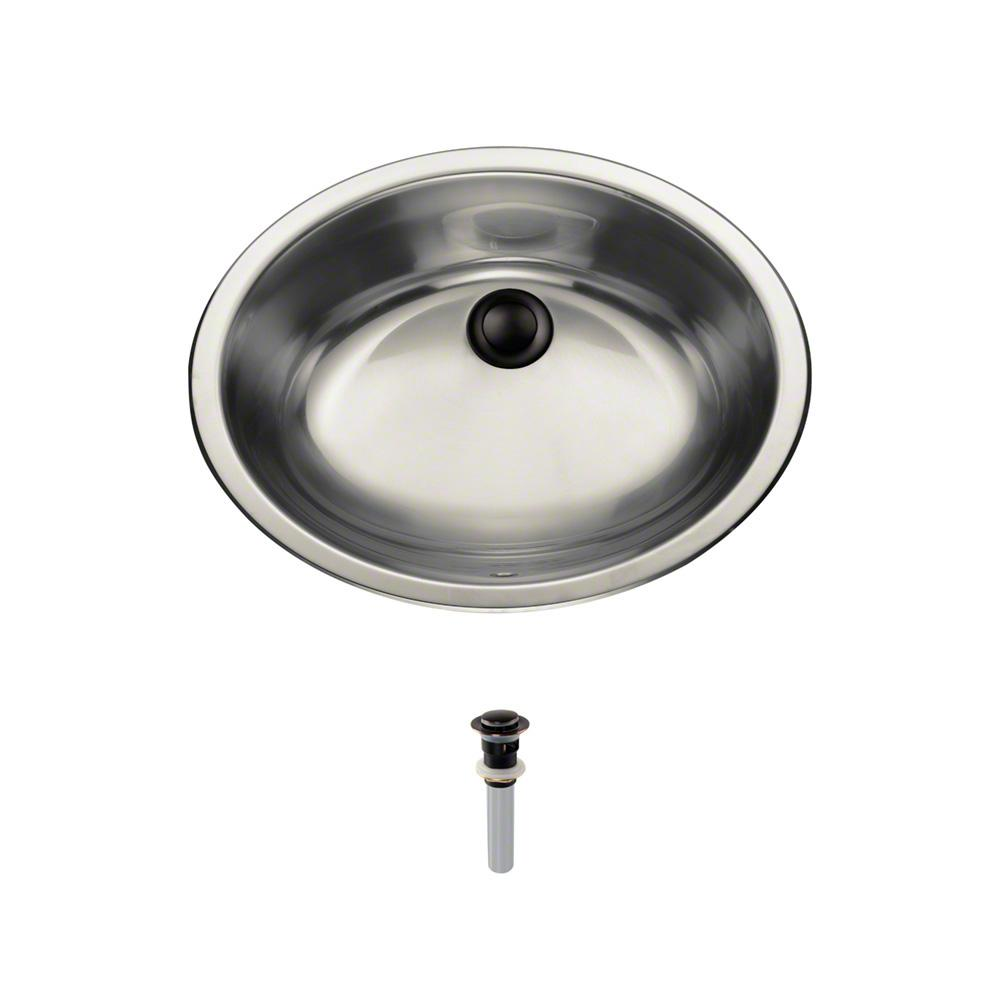 Dual-Mount Bathroom Sink in Stainless Steel with Pop-Up Drain in Antique