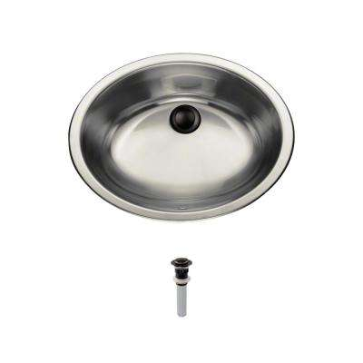 Dual-Mount Bathroom Sink in Stainless Steel with Pop-Up Drain in Antique Bronze