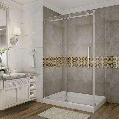 Moselle 48 in. x 77-1/2 in. Frameless Sliding Shower Door Enclosure in Stainless Steel with Left Drain Base