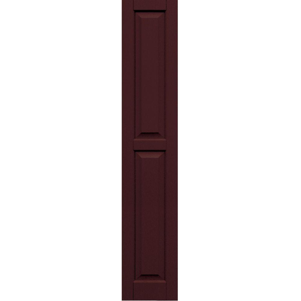 Winworks Wood Composite 12 in. x 66 in. Raised Panel Shutters Pair #657 Polished Mahogany