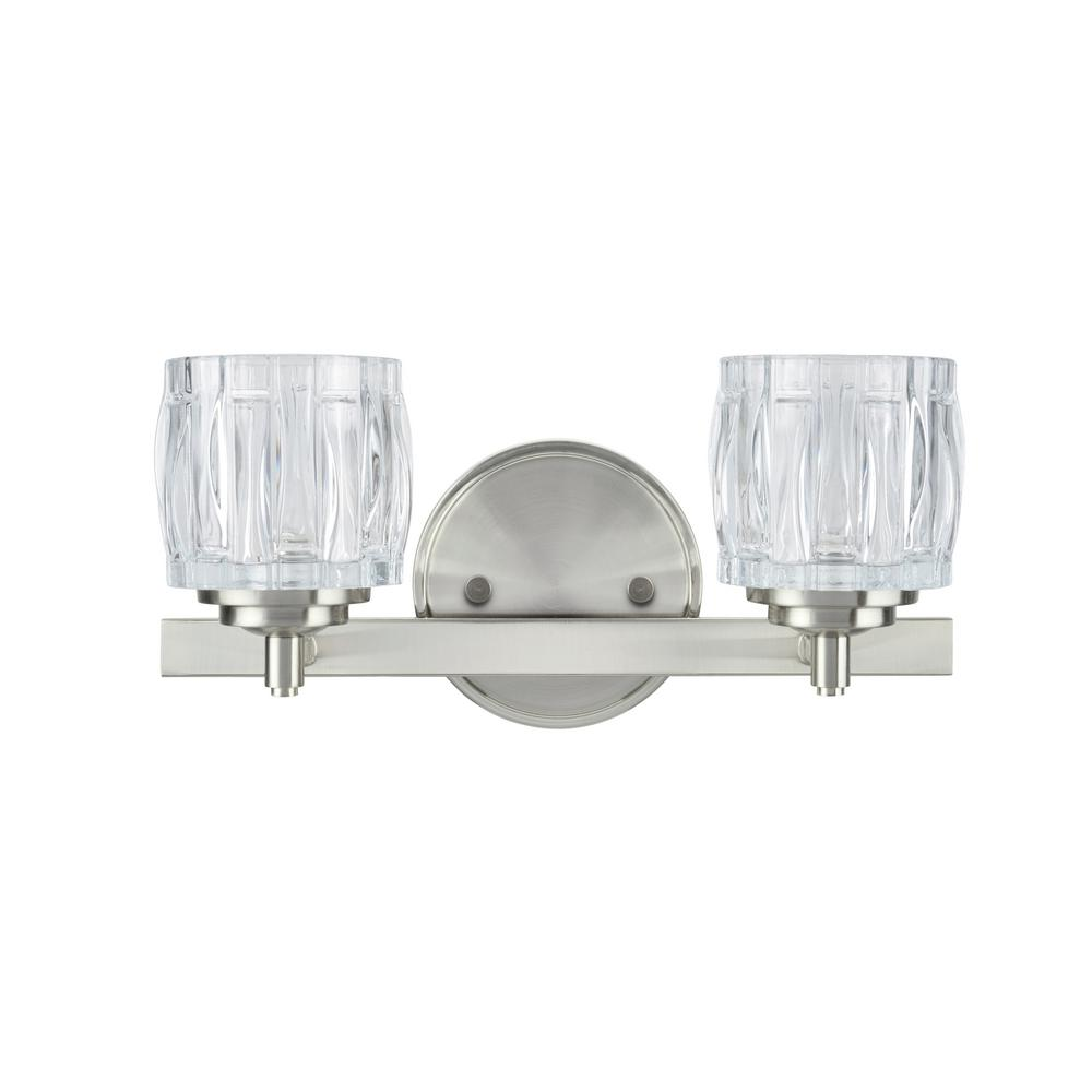 2 Light Brushed Nickel Vanity With Clear Gl Shade