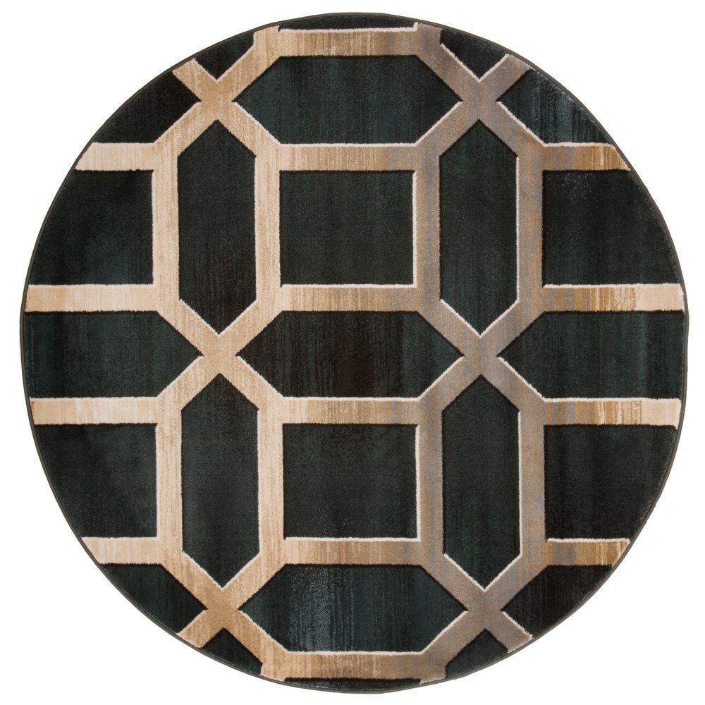 Lavish Home Opus Art Deco Teal 5 Ft. X 5 Ft. Round Area Rug
