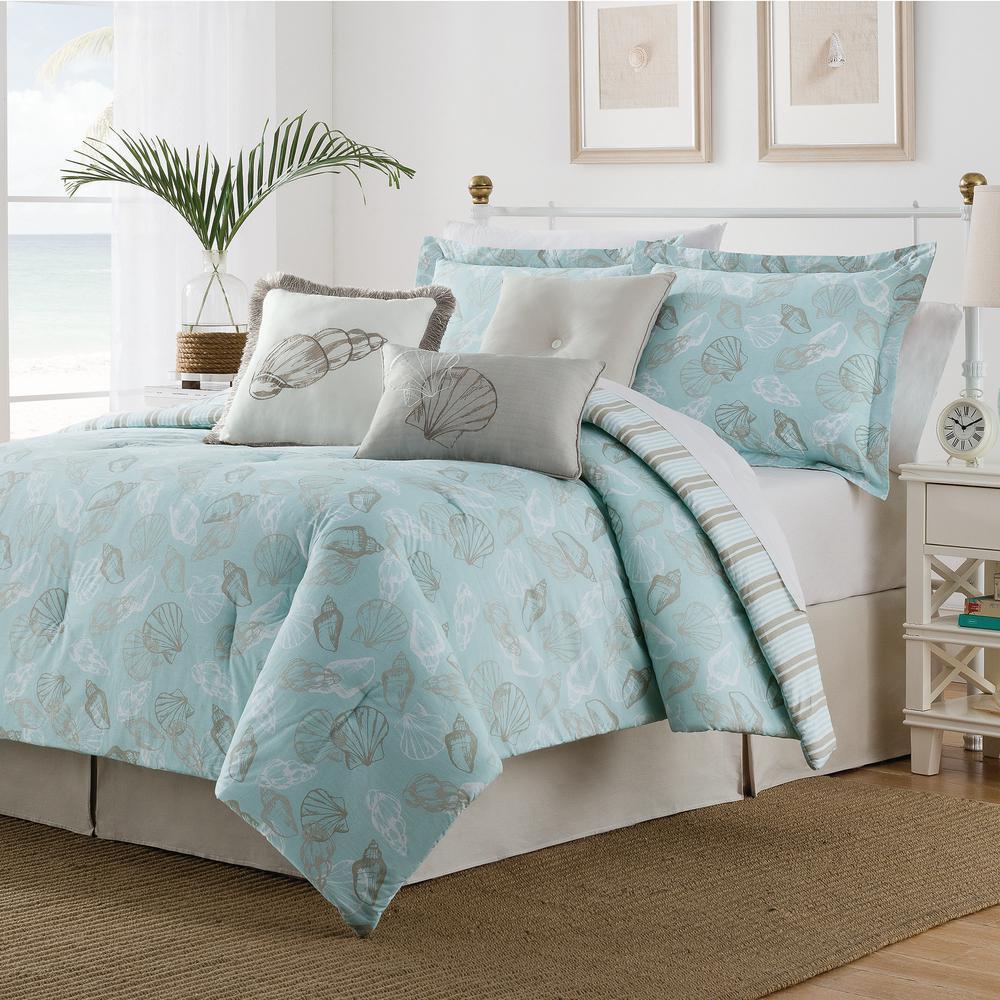 Seashell 7 Piece multi-colored Queen Comforter Set