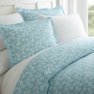 Wheat Field Patterned Performance Pale Blue Queen 3-Piece Duvet Cover Set