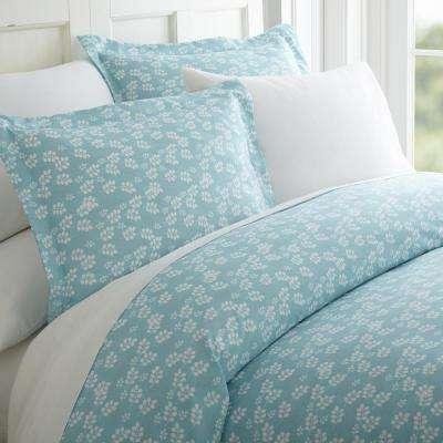 Wheat Field Patterned Performance Pale Blue King 3-Piece Duvet Cover Set