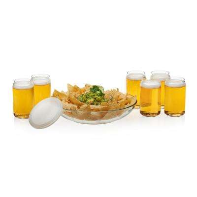 Game Night 6-piece Classic Can Glass Tumbler Set with Chip and Dip Bowls and Plastic Lid