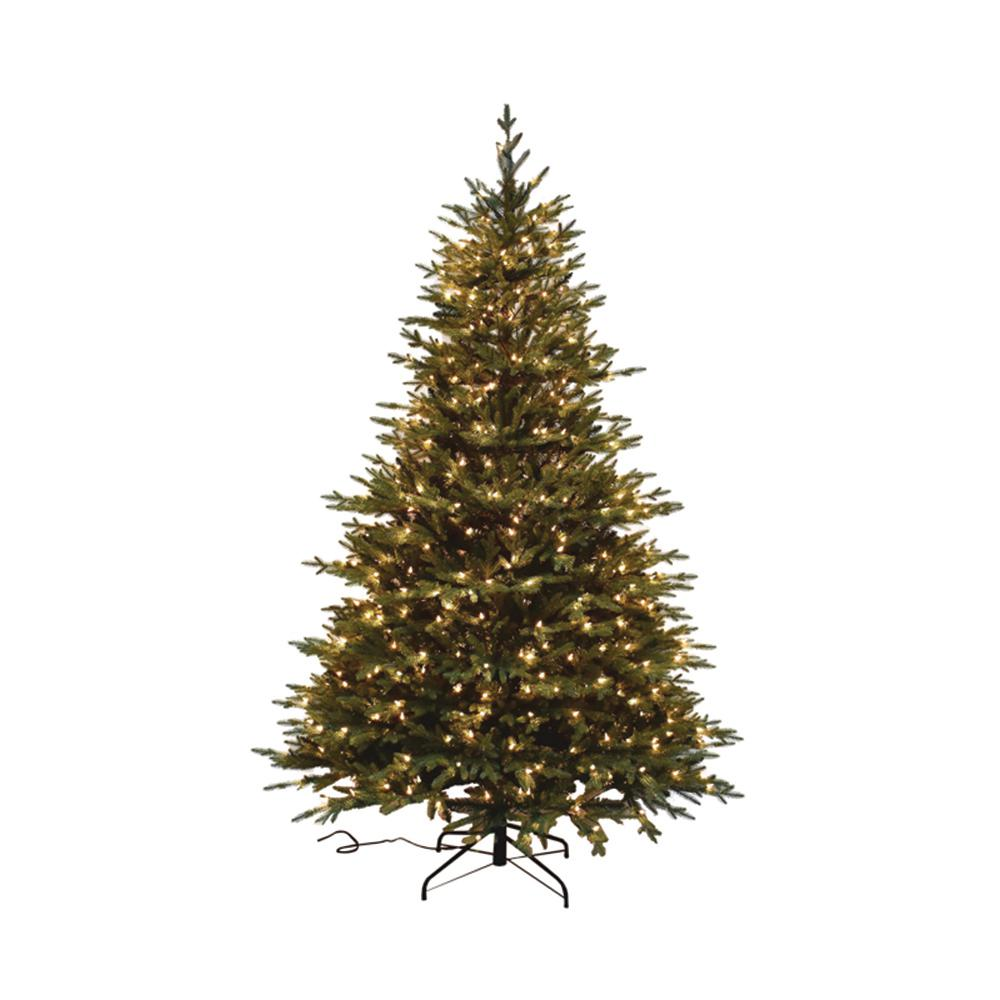 7.5 ft. Pre-Lit PE Balsam Fir Artificial Christmas Tree ...