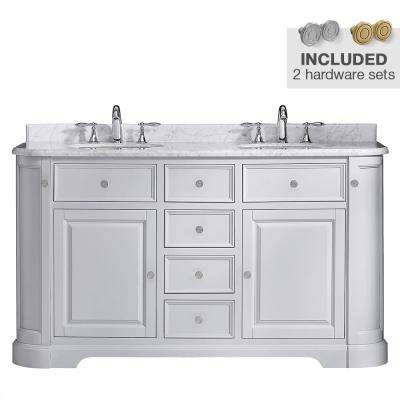 Diana 60 in. W x 21.5 in. D Vanity in Dove Gray with Marble Vanity Top in Carrera with White Basin