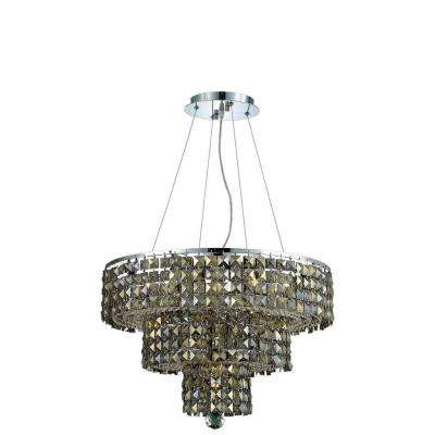 9-Light Chrome Chandelier with Golden Teak Smoky Crystal