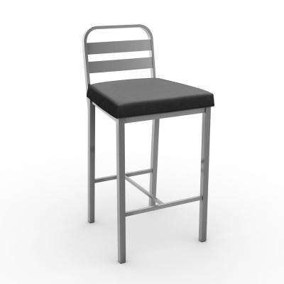 Alberto 26 in. Glossy Grey Metal Mat Charcoal Black Polyurethane Counter Stool