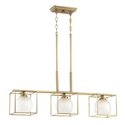 Cowen 3-Light Brushed Gold Interior Chandelier with Clear Polished Etched Glass Shade