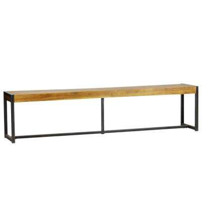Sumatra Industrial Metal Solid Natural Teak Wood Bench