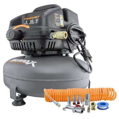 3 Gal. 1/2 HP Portable Electric Oil-Free Pancake Air Compressor with 25 ft. Air Hose and 11-Piece Inflation Kit