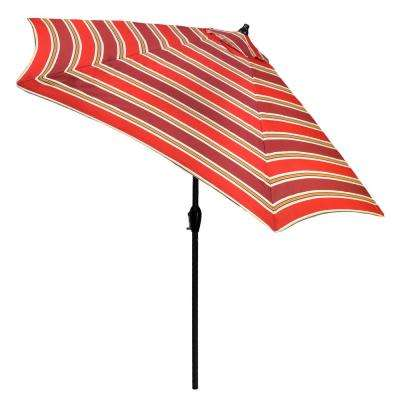 9 ft. Aluminum Patio Umbrella in Chili Stripe with Tilt