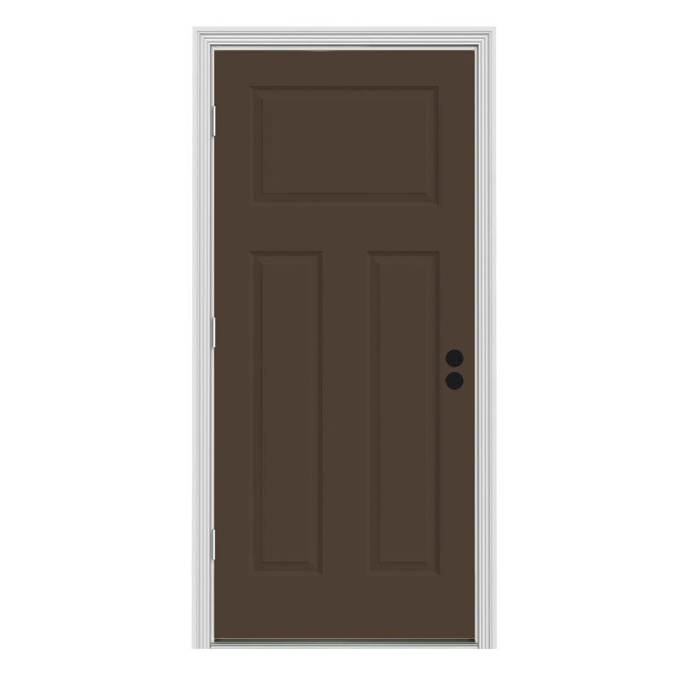 JELD-WEN 30 in. x 80 in. 3-Panel Craftsman Dark Chocolate Painted Steel Prehung Right-Hand Front Door w/Brickmould